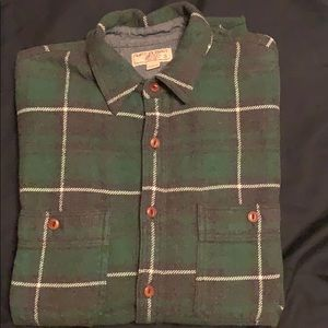 Shirt jacket flannel in green plaid